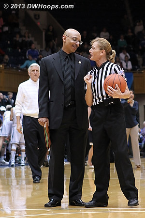 Maryland assistant Marlin Chinn meets with Dee Kantner as Duke assistant Al Brown approaches  - Duke Tags: Al Brown - MD Players: Assistant Coach Marlin Chinn