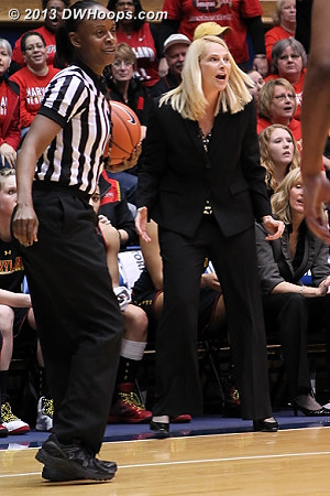 Coach Frese incensed after a badly missed call, a Duke player deflected a Maryland inbounds pass and the ball was awarded to Duke  - MD Players: Head Coach Brenda Frese