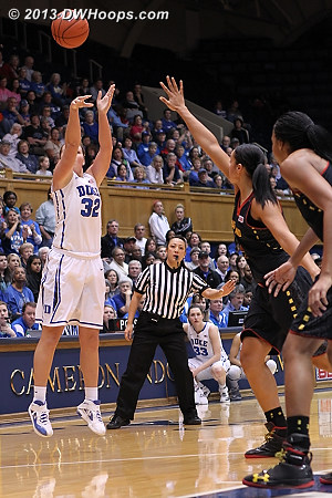 Tricia Liston answers a Maryland three with one of her own, Duke up 18-12  - Duke Tags: #32 Tricia Liston