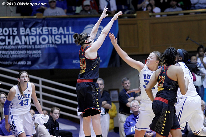 Katie Rutan gets an open look from three.  Between the 15:04 mark and the 4:22 mark, Maryland's only points came from behind the arc.  - MD Players: #40 Katie Rutan