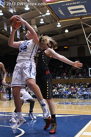Rutan fouls Liston, her second  - Duke Tags: #32 Tricia Liston - MD Players: #40 Katie Rutan