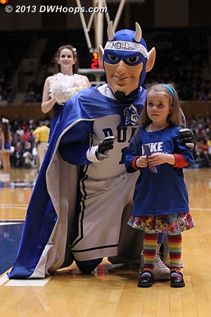 A NOSH certificate winner with the Blue Devil.  We thank NOSH for their sponsorship of DWHoops this season!  - Duke Tags: Duke Blue Devil Mascot