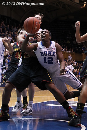 Chelsea Gray draws a foul in the lane  - Duke Tags: #12 Chelsea Gray