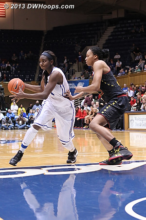 ACCWBBDigest Photo  - Duke Tags: #1 Elizabeth Williams  - MD Players: #13 Alicia DeVaughn
