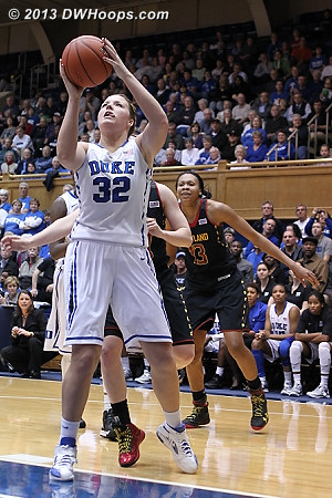 Liston misses up close, one of thirteen Duke second half misses in layup range  - Duke Tags: #32 Tricia Liston