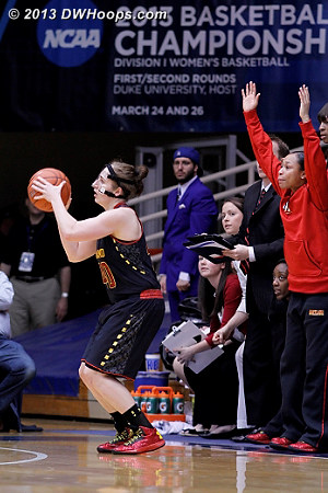 From the Maryland bench Brene Moseley calls the Katie Rutan three that tied it at 33 all  - MD Players: #3 Brene Moseley, #40 Katie Rutan