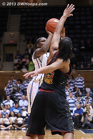 Chelsea Gray answers with a three, 36-33 Duke  - Duke Tags: #12 Chelsea Gray - MD Players: #25 Alyssa Thomas