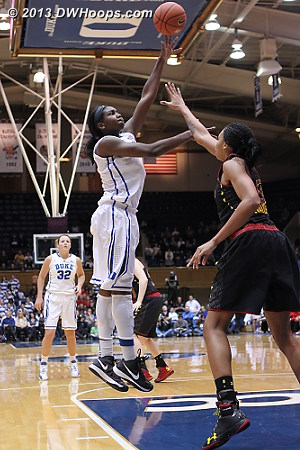 Williams misses from the paint, score remained 38-37 Duke  - Duke Tags: #1 Elizabeth Williams