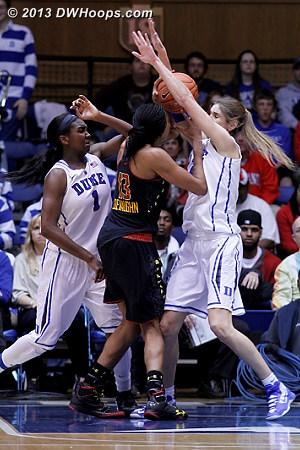 Rejection by Vernerey  - Duke Tags: #1 Elizabeth Williams , #43 Allison Vernerey - MD Players: #13 Alicia DeVaughn