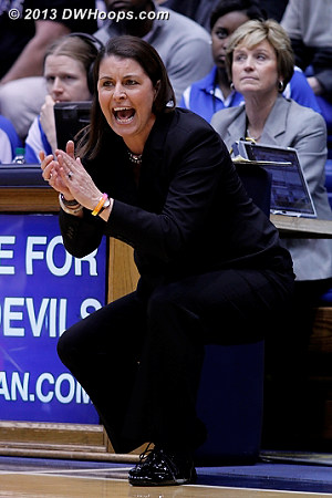 Coach McCallie reacts to a pair of Gray free throws that put Duke up 47-44  - Duke Tags: Joanne P. McCallie