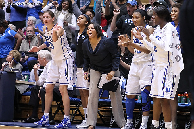 Duke bench reacts to the Gray score, media time out  - Duke Tags: #2 Alexis Jones, #5 Sierra Moore, #15 Richa Jackson, #43 Allison Vernerey, Candace Jackson , Joy Cheek