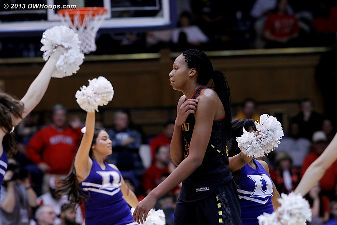 Alicia DeVaughn wanders into the Duke cheerleader formation as the technical foul situation unfolds at the Maryland bench  - Duke Tags: Duke Cheerleaders  - MD Players: #13 Alicia DeVaughn