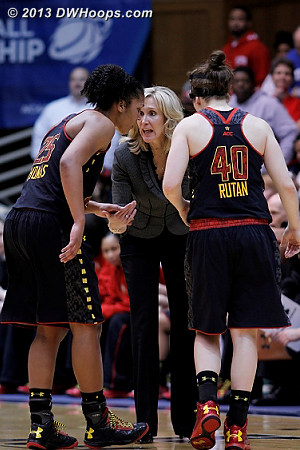 With Coach Frese gone, assistant Tina Langley takes over the Terps, who are now down 63-50 with 3:51 remaining  - MD Players: Assistant Coach Tina Langley, #25 Alyssa Thomas, #40 Katie Rutan