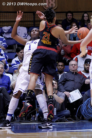 Just another no call  - Duke Tags: #1 Elizabeth Williams  - MD Players: #21 Tianna Hawkins