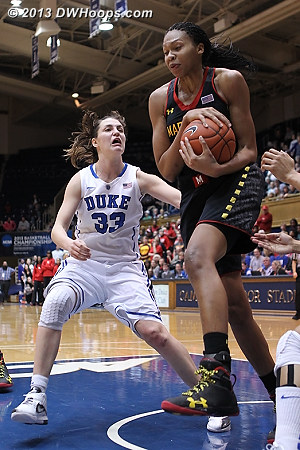 DeVaughn grabs a rebound  - Duke Tags: #33 Haley Peters - MD Players: #13 Alicia DeVaughn