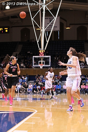 Vernerey about to receive a baseball pass from Chelsea Gray  - Duke Tags: #43 Allison Vernerey