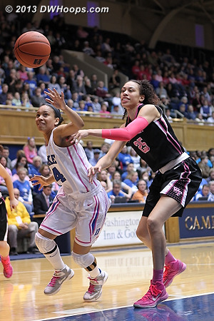 Race for a loose ball as Wells swatted a Hamby pass  - Duke Tags: #4 Chloe Wells - WAKE Players: #25 Dearica Hamby