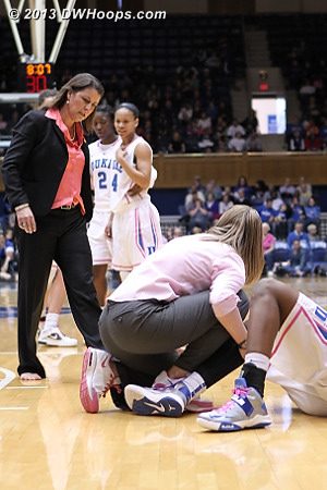 Coach P comes to check on her star as athletic trainer Summer McKeehan tries to help Chelsea straighten her leg  - Duke Tags: #12 Chelsea Gray, Joanne P. McCallie