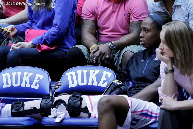 Chelsea Gray back on the Duke bench, knee immobilized  - Duke Tags: #12 Chelsea Gray
