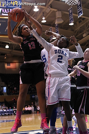 Walker boards a Duke miss  - Duke Tags: #2 Alexis Jones - WAKE Players: #13 Mykala Walker