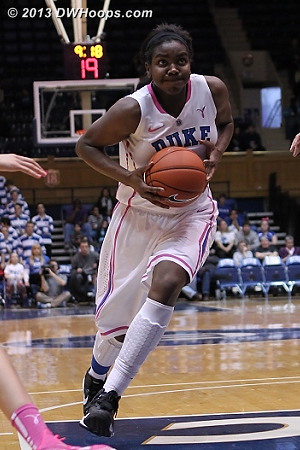 Elizabeth Williams attacks, her back to back hoops gave Duke a six point cushion  - Duke Tags: #1 Elizabeth Williams