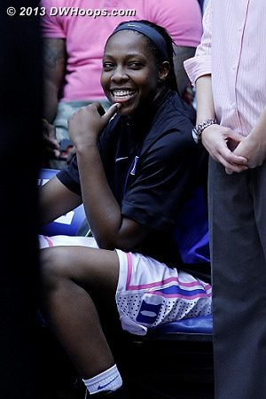 Chelsea Gray in good spirits on the Duke bench  - Duke Tags: #12 Chelsea Gray