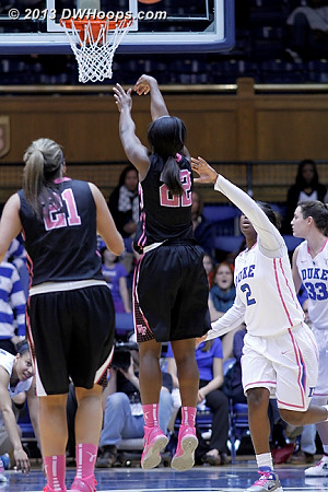 Key Sequence: On the outlet pass from a nearly tied-up Chelsea Douglas, Lakevia Boykin ties the game at 64  - WAKE Players: #22 Lakevia Boykin