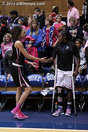 Duke wins 81-70, and in a nice display of sportsmanship, Dearica Hamby is first through the handshake line and finds Chelsea Gray on the Duke bench.  - Duke Tags: #12 Chelsea Gray - WAKE Players: #25 Dearica Hamby