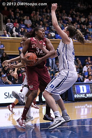 Physical play in the paint  - Duke Tags: #33 Haley Peters - FSU Players: #32 Lauren Coleman