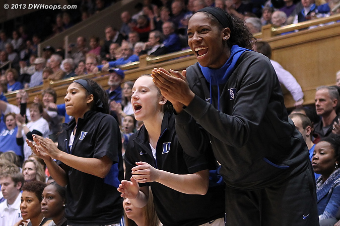 Moore, Frush, and Henson cheer a Duke defensive play in the first half