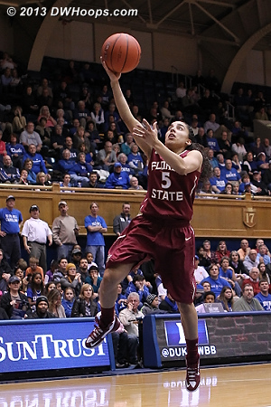 Another missed layup - 14 in the first half combined  - FSU Players: #5 Cheetah Delgado