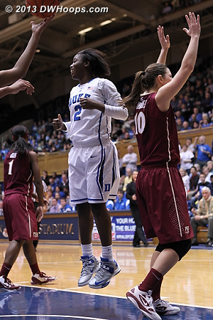 Alexis Jones jumps for joy after being fouled by Leonor Rodriguez, who denies it  - FSU Players: #10 Leonor Rodriguez