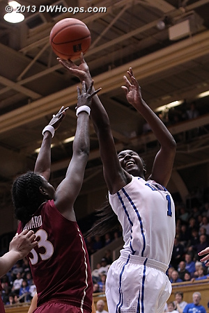 Duke tied the game on Elizabeth Williams hoop and one.