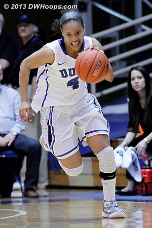 Chloe Wells races downcourt after her steal  - Duke Tags: #4 Chloe Wells