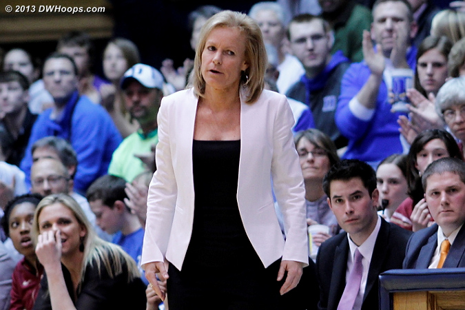 Sue Semrau not happy at the first media time out of the second half, game tied at 26  - FSU Players: Head Coach Sue Semrau