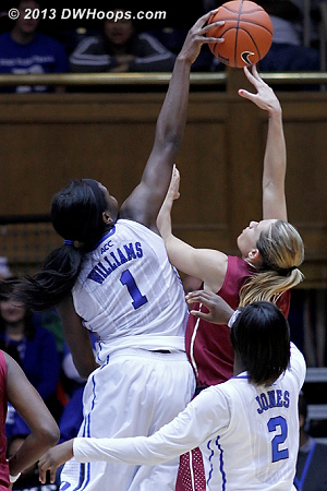 Elizabeth Williams turns back Alexa Deluzio's shot