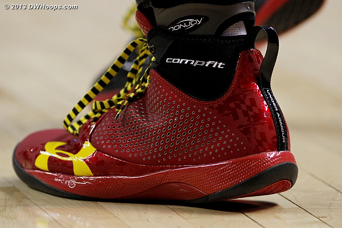 One of three different shoe colors that Maryland wore with their