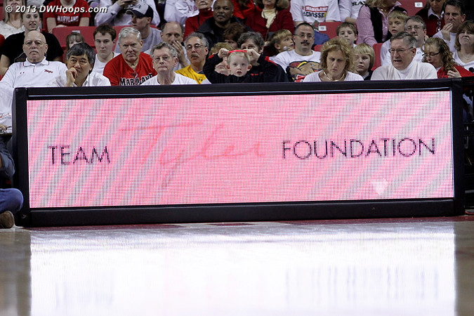 Today's game benefited the Team Tyler Foundation, an organization founded by former Maryland players in honor of Tyler Thomas, the son of Maryland coach Brenda Frese who has leukemia.