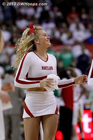 Maryland cheerleaders threw white t-shirts into the stands as part of their White-Out promotion.  They drew 15,853 today, the seventh largest crowd in ACC Women's Basketball history.  - Duke Tags: Duke Cheerleaders