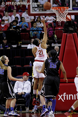 Maryland started the second half with a burst of energy, but without three pointers falling, they could only chip around the edges of Duke's working margin  - MD Players: #21 Tianna Hawkins