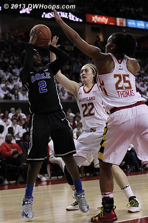 Jones, who came close to a triple double with 15 points, 9 assists, and 8 boards, draws some Terrapin defensive attention  - Duke Tags: #2 Alexis Jones - MD Players: #25 Alyssa Thomas, #22 Tierney Pfirman