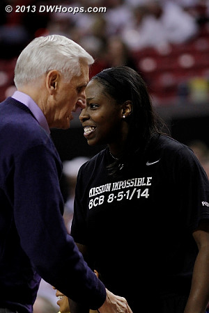Duke bench gets congratulations from Coach Brown  - Duke Tags: #12 Chelsea Gray, Al Brown