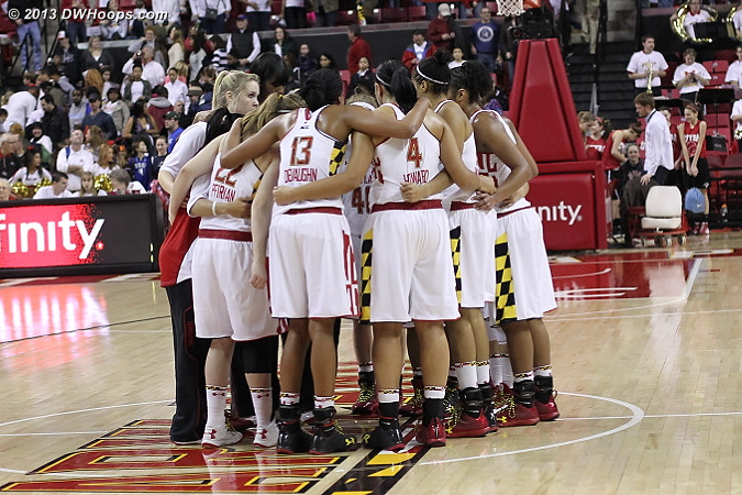 Maryland post game huddle, a tough loss to absorb, but one that they should learn from