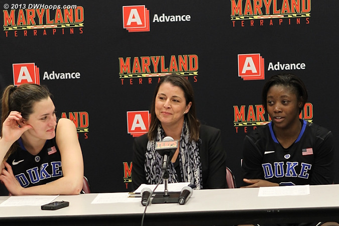 Duke in the media room, with Coach P pleased with Alexis Jones performance  - Duke Tags: #2 Alexis Jones, #33 Haley Peters, Joanne P. McCallie