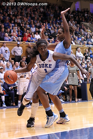 Foul #1 on McDaniel, presumably before the Williams hook which the UNC bench wanted called  - Duke Tags: #1 Elizabeth Williams  - UNC Players: #34 Xylina McDaniel