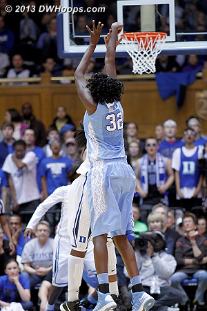 Waltiea Rolle made a three on Senior Day in Chapel Hill, but her attempt here was an airball  - UNC Players: #32 Waltiea Rolle