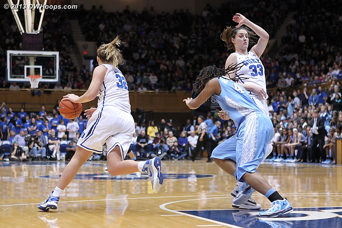 TRP barrels through a Peters screen a second time on this possession.  In a Dee Kantner called game, if no advantage is gained and no harm is done, this is allowed.  - Duke Tags: #32 Tricia Liston - UNC Players: #44 Tierra Ruffin-Pratt