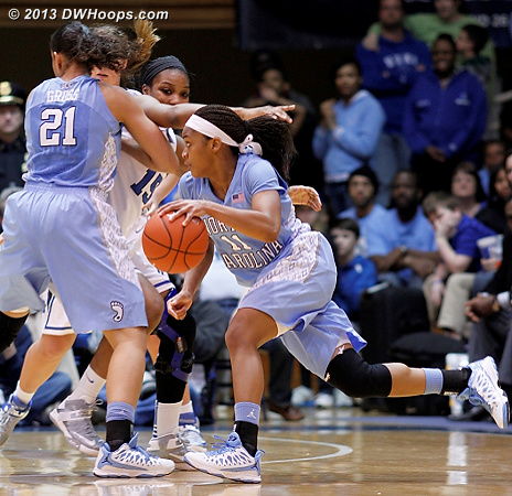 Krista Gross screens two Duke players at once!  - UNC Players: #11 Brittany Rountree, #21 Krista Gross