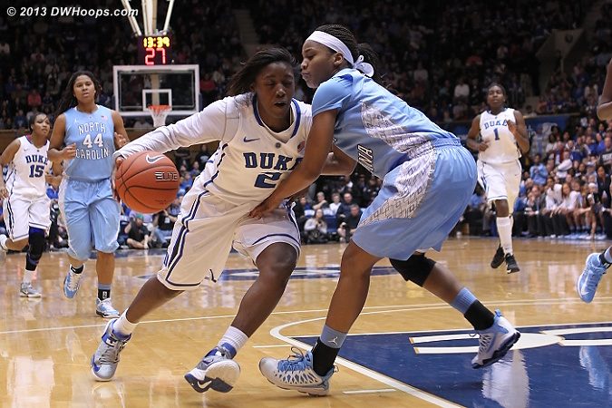 This wasn't quite a foul...  - Duke Tags: #2 Alexis Jones - UNC Players: #11 Brittany Rountree