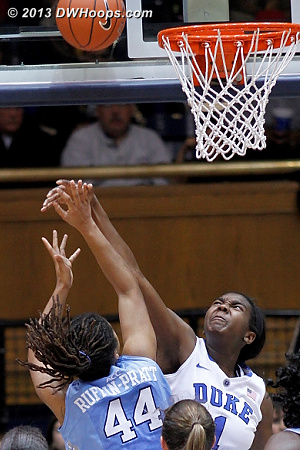However, there was no question about this block  - Duke Tags: #1 Elizabeth Williams  - UNC Players: #44 Tierra Ruffin-Pratt